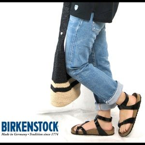 Birkenstock black patent leather ankle strap